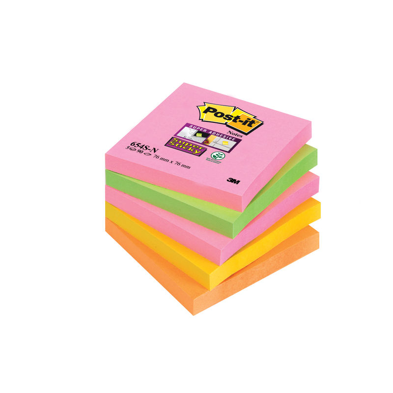 Post-it® Neon Super Sticky Notes 76 x 76mm   Medical Supermarket