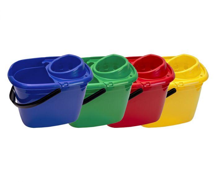 14 Litre Mop Bucket with Wringer Red | Medical Supermarket