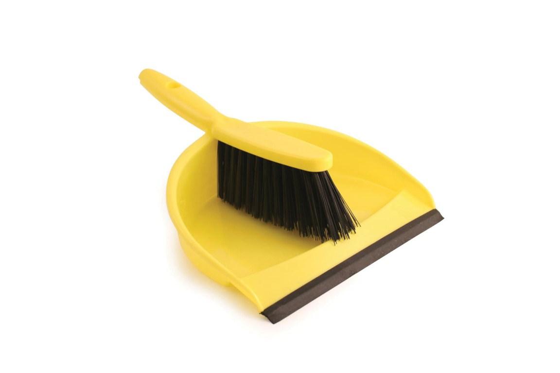 Plastic Dustpan & Brush Set Yellow | Medical Supermarket