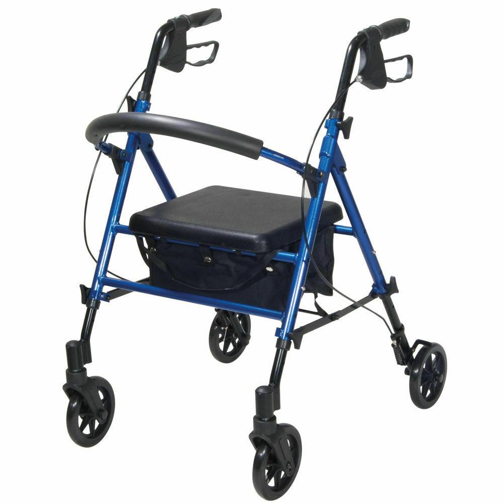 "Height Adjustable Rollator - Blue 7.5"" Wheels   Medical Supermarket"
