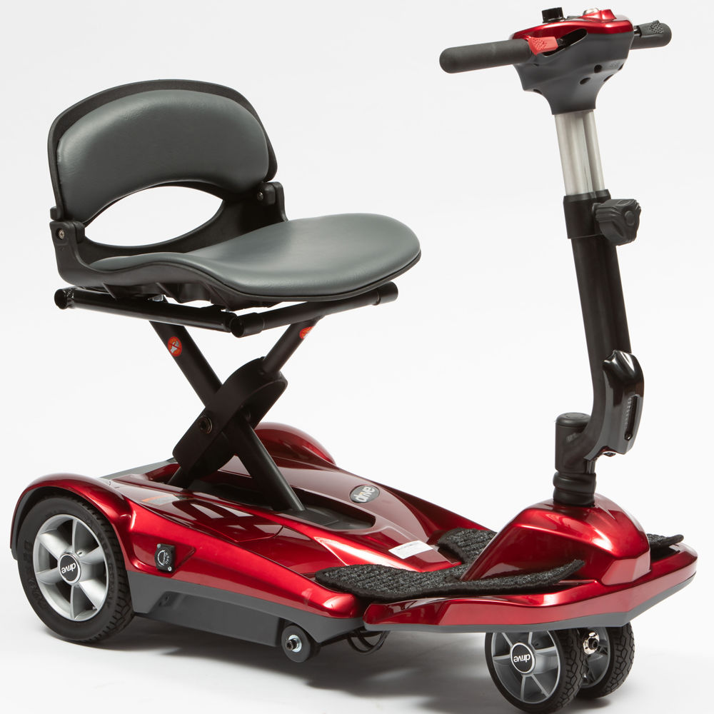 Dual-Wheel Auto Folding Scooter Red   Medical Supermarket