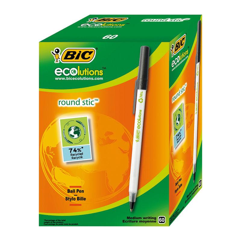 Bic Ecolutions Round Stic Ballpoint Pen Black | Medical Supermarket