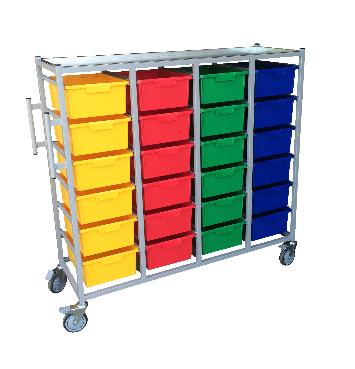 4 Tier Karri Cart, 24 Trays | Medical Supermarket