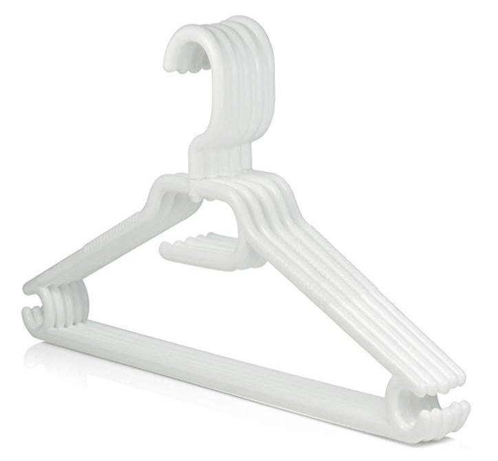 White Plastic Clothes Hangers, Non-Slip Trouser Bar 44cm | Medical Supermarket