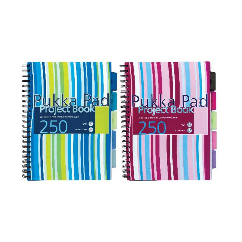 Pukka Pad Striped Project Book 250 Pages, A4, 5 Dividers, 80gsm (package 3 each)   Medical Supermarket