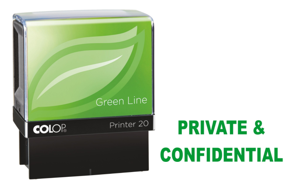 Colop Printer 20 PRIVATE & CONFIDENTIAL Self-Inking Stamp Green | Medical Supermarket