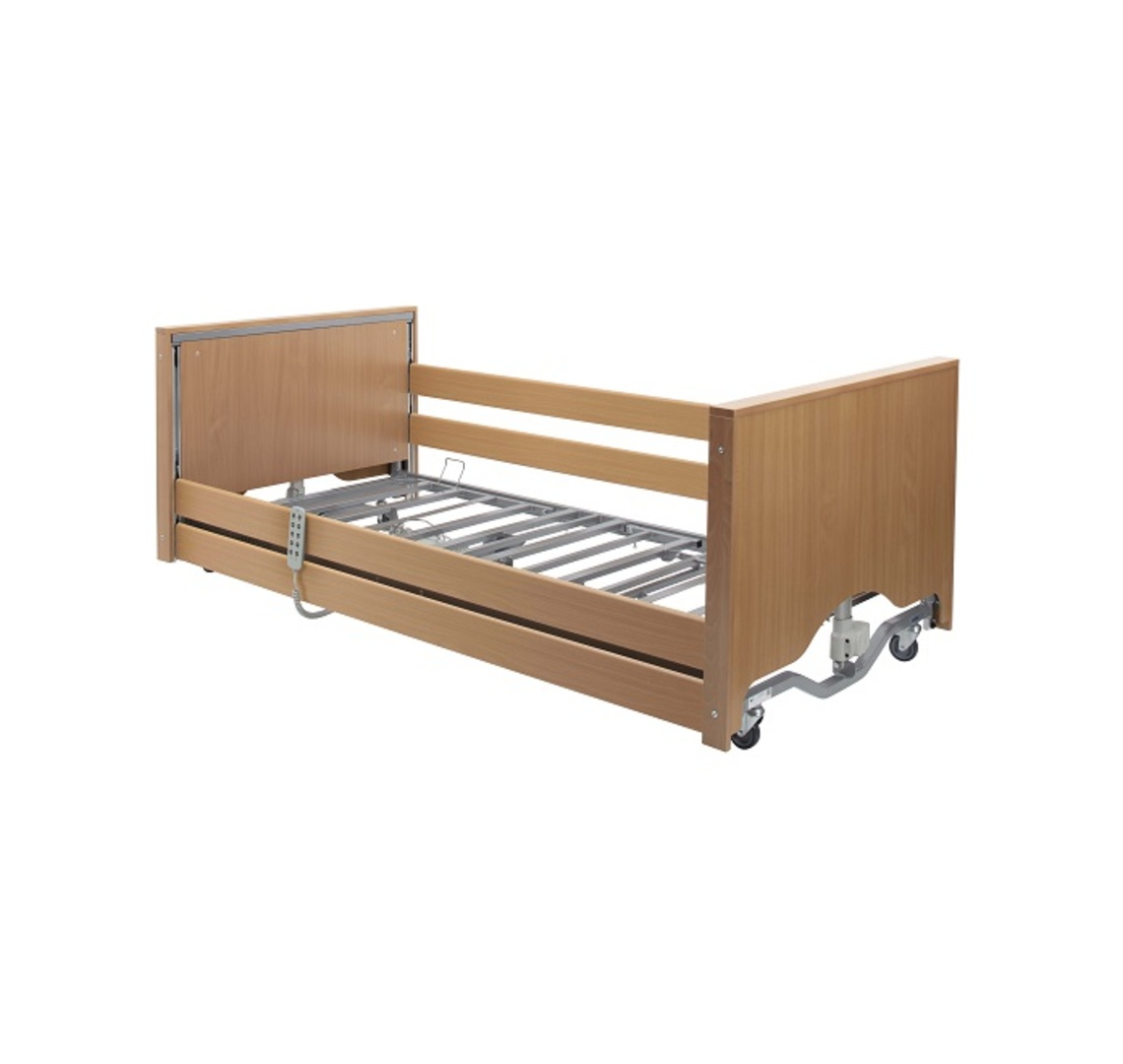 Casa Elite Low Bed with Wooden Side Rail Kit + Delivery & Installation - Beech | Medical Supermarket