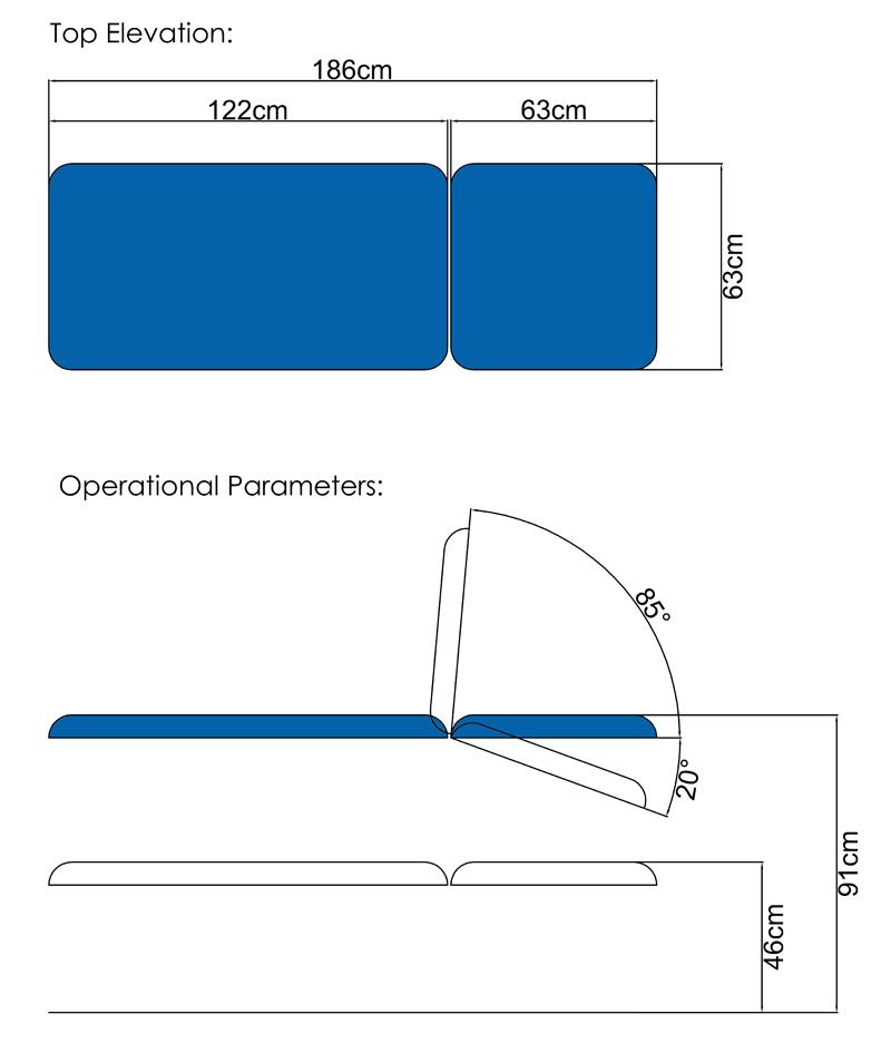 BA02H Hydraulic Couch Dimensions