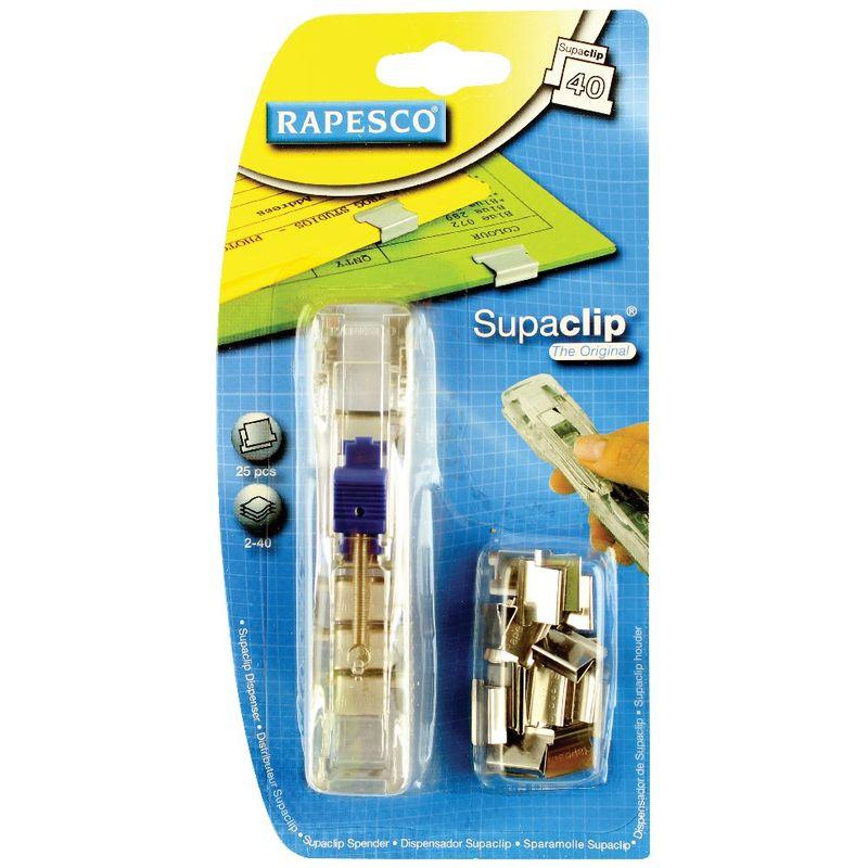 Rapesco Supaclip Dispenser, 2-40 Sheet, Clear | Medical Supermarket