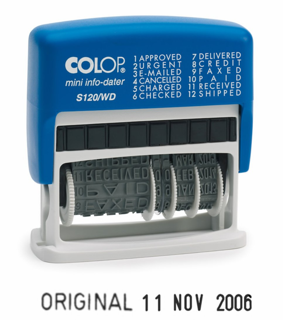Colop S120 Self-Inking Mini Info Dater Stamp Red/Blue | Medical Supermarket