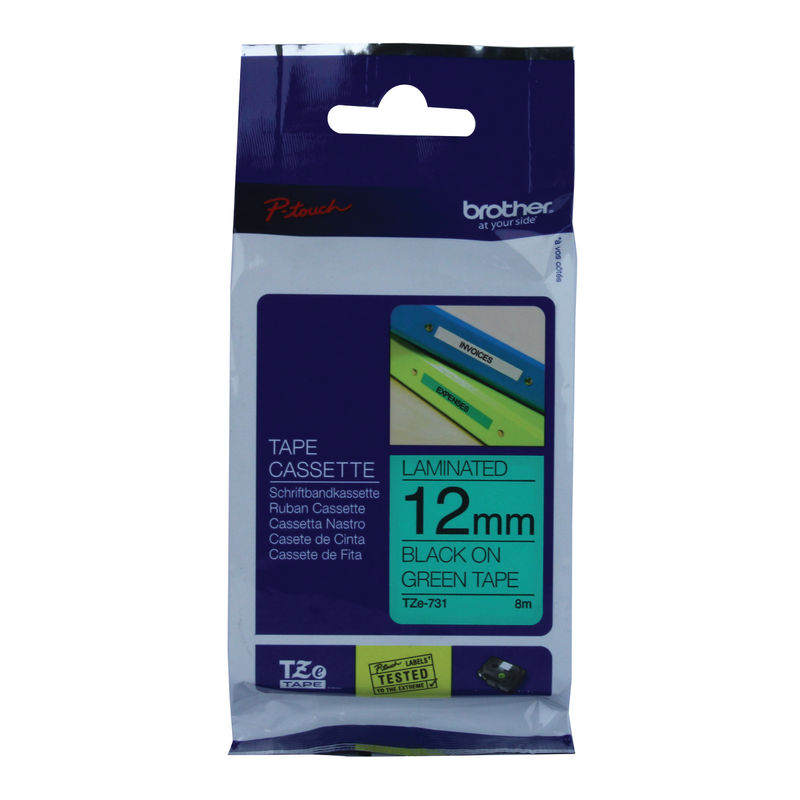Brother Laminated P-Touch Labelling Tape 12mm x 8mm Black On Green TZE731 | Medical Supermarket