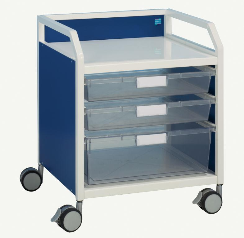 Howarth 3 Trolley Blue Panels | Medical Supermarket