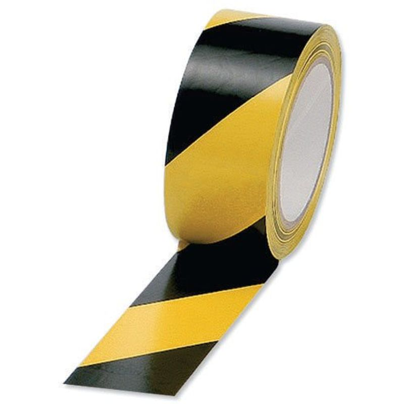 Hazard Warning Tape Black/Yellow, 50mm x 33m | Medical Supermarket
