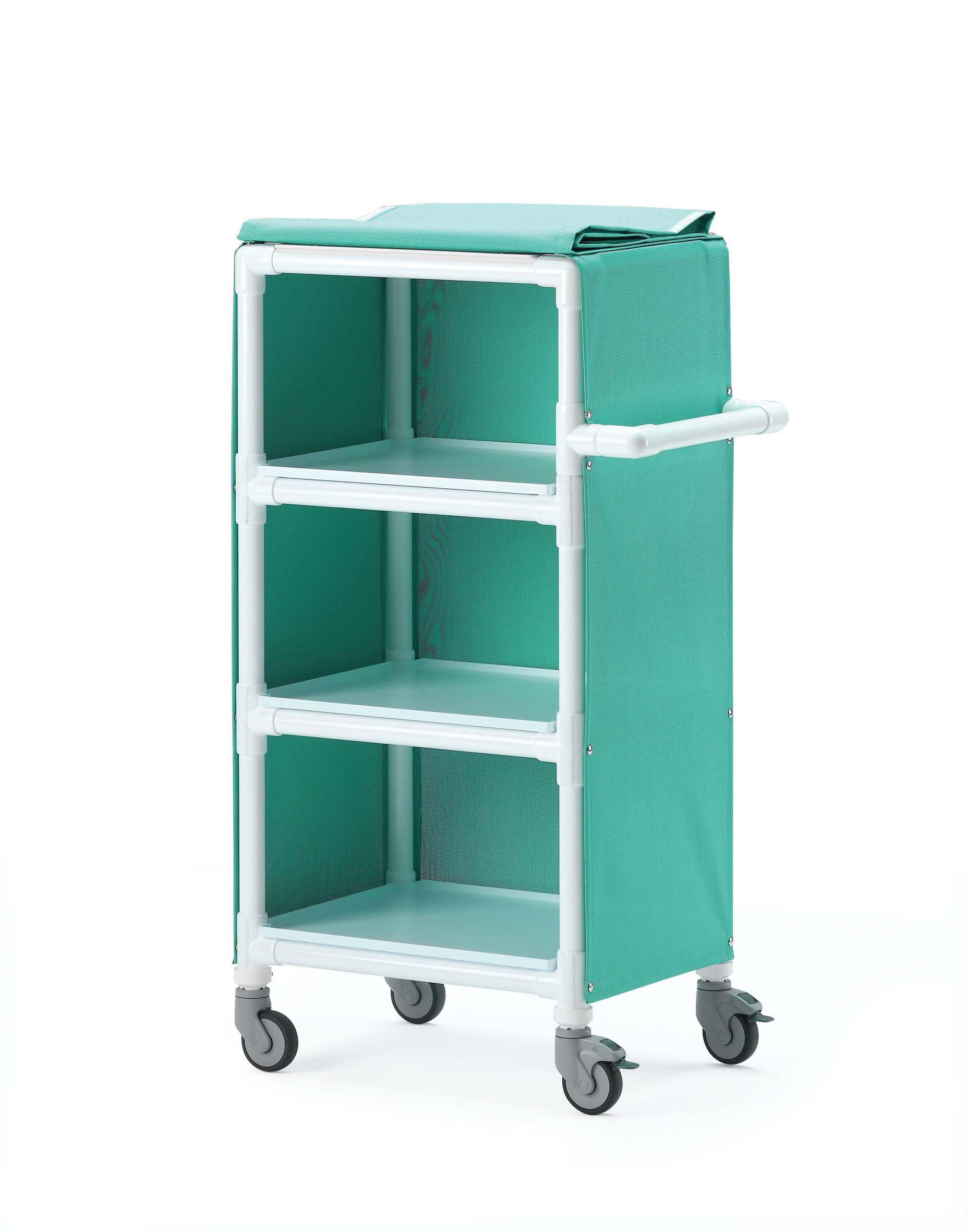 Linen Clean Distribution Cart with Green Canvas Covers | Medical Supermarket