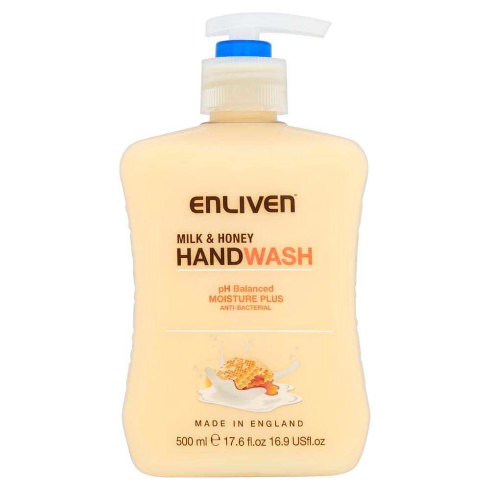 Enliven Anti-Bacterial Handwash Milk & Honey, 500ml   Medical Supermarket