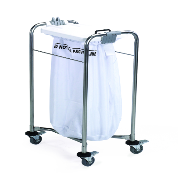 1 Bag Laundry Trolley with Colour Coded Lids – White | Medical Supermarket