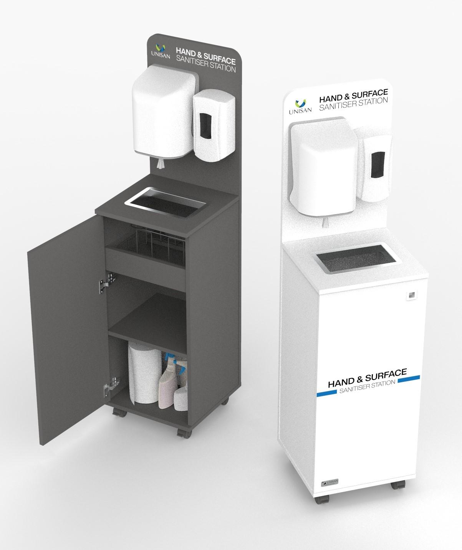 Hand & Surface Sanitiser Station with Centrefeed Paper Towel Dispenser & Bin, White | Medical Supermarket