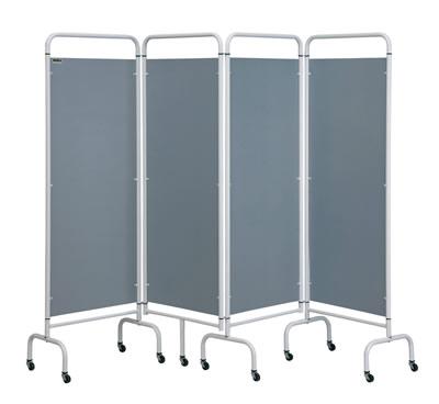 Four Panel Mobile Folding Screens Silver Panels | Medical Supermarket