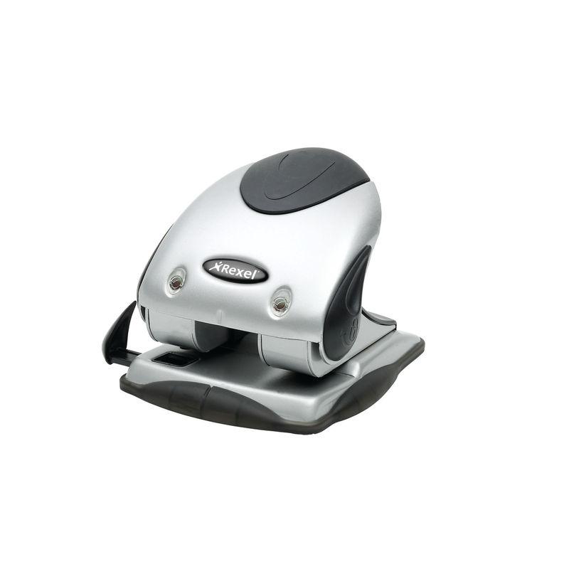 Rexel Precision 240, 2 Hole Punch, Silver/Black | Medical Supermarket