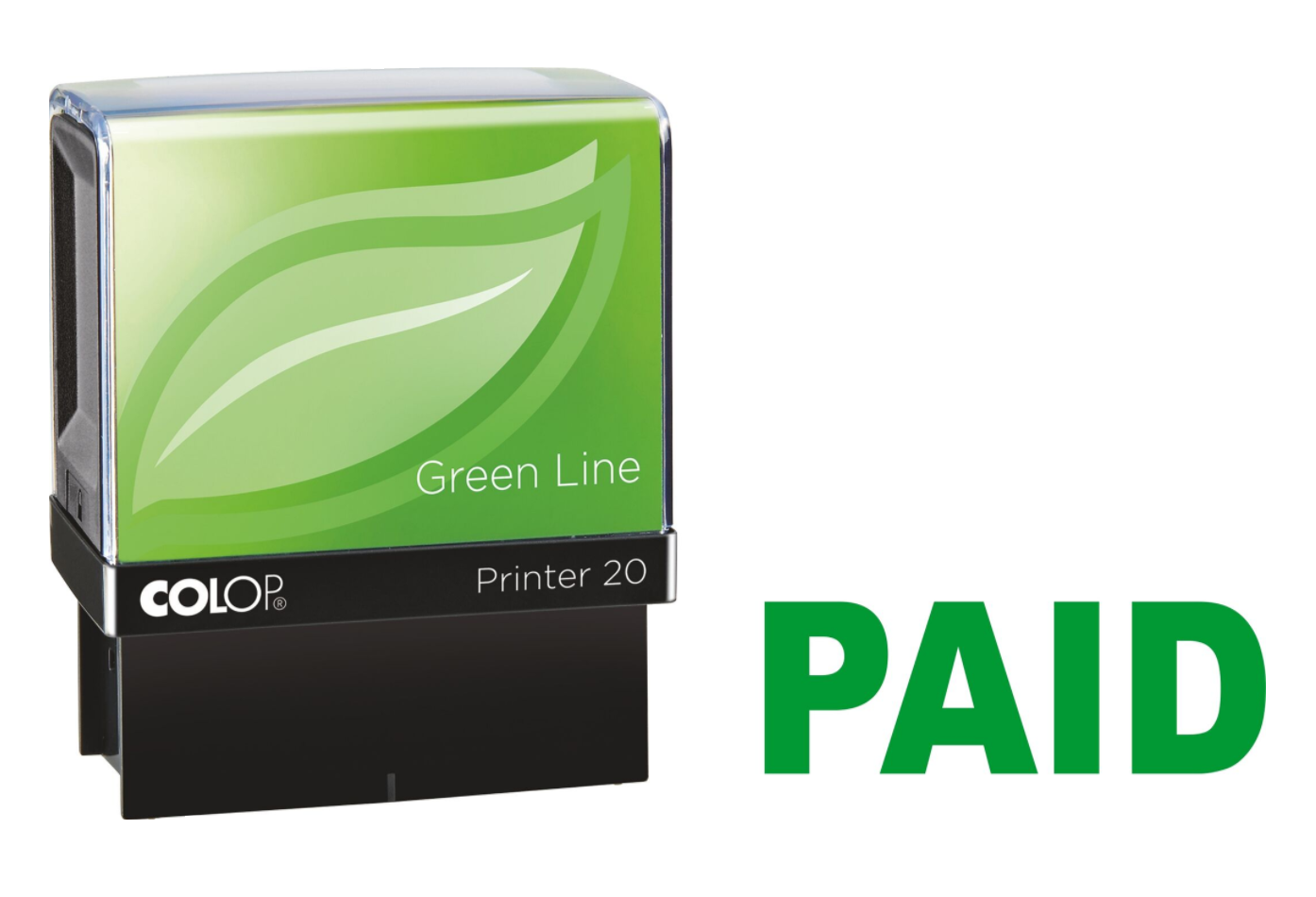 Colop Printer 20 PAID Self-Inking Stamp Green | Medical Supermarket