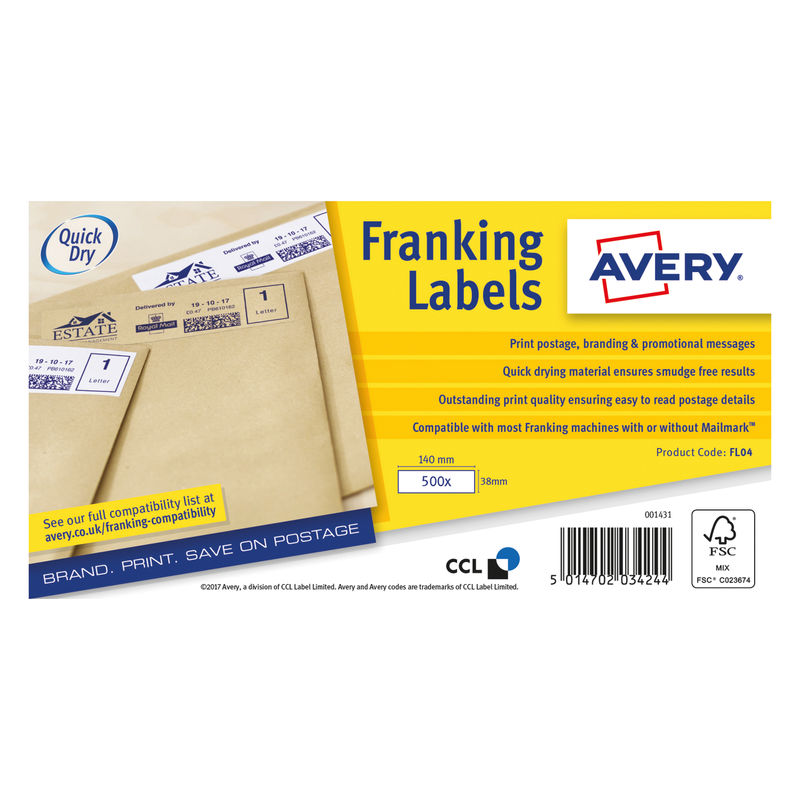 AVERY Franking Labels 140mm x 38mm, 1000 Sheets, 1 Label/Sheet, White (box 1000 each) | Medical Supermarket
