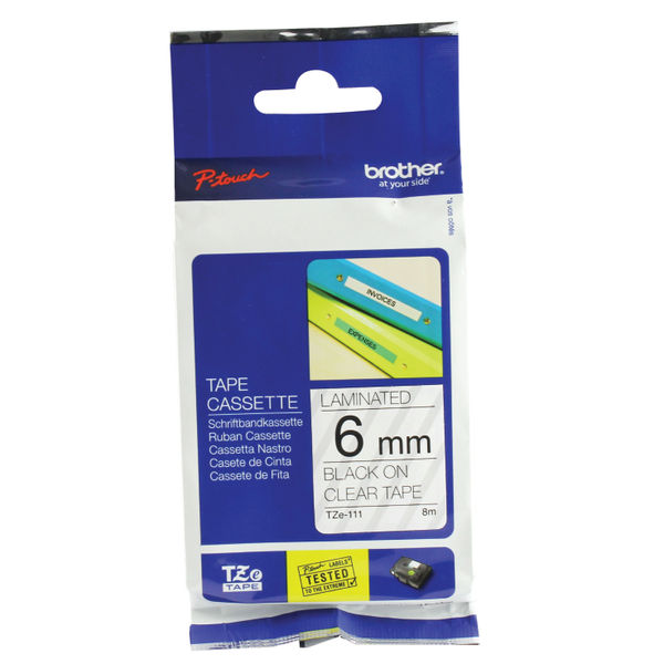 Brother TZe-111 Black On Clear Labelling Tape 6mm x 8m | Medical Supermarket