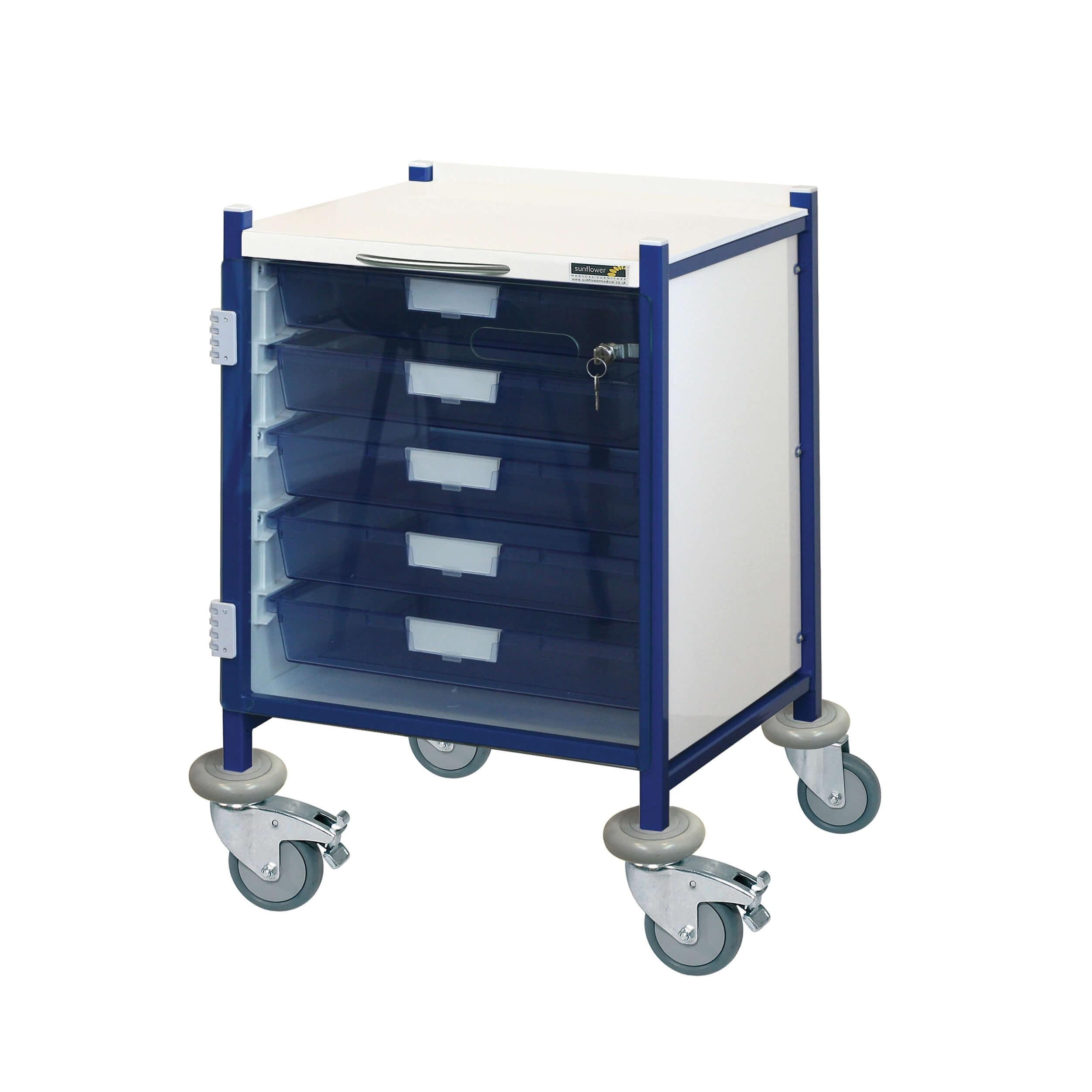 VISTA 40 Clinical Trolley 5 Single Depth Trays with Locking Door | Medical Supermarket