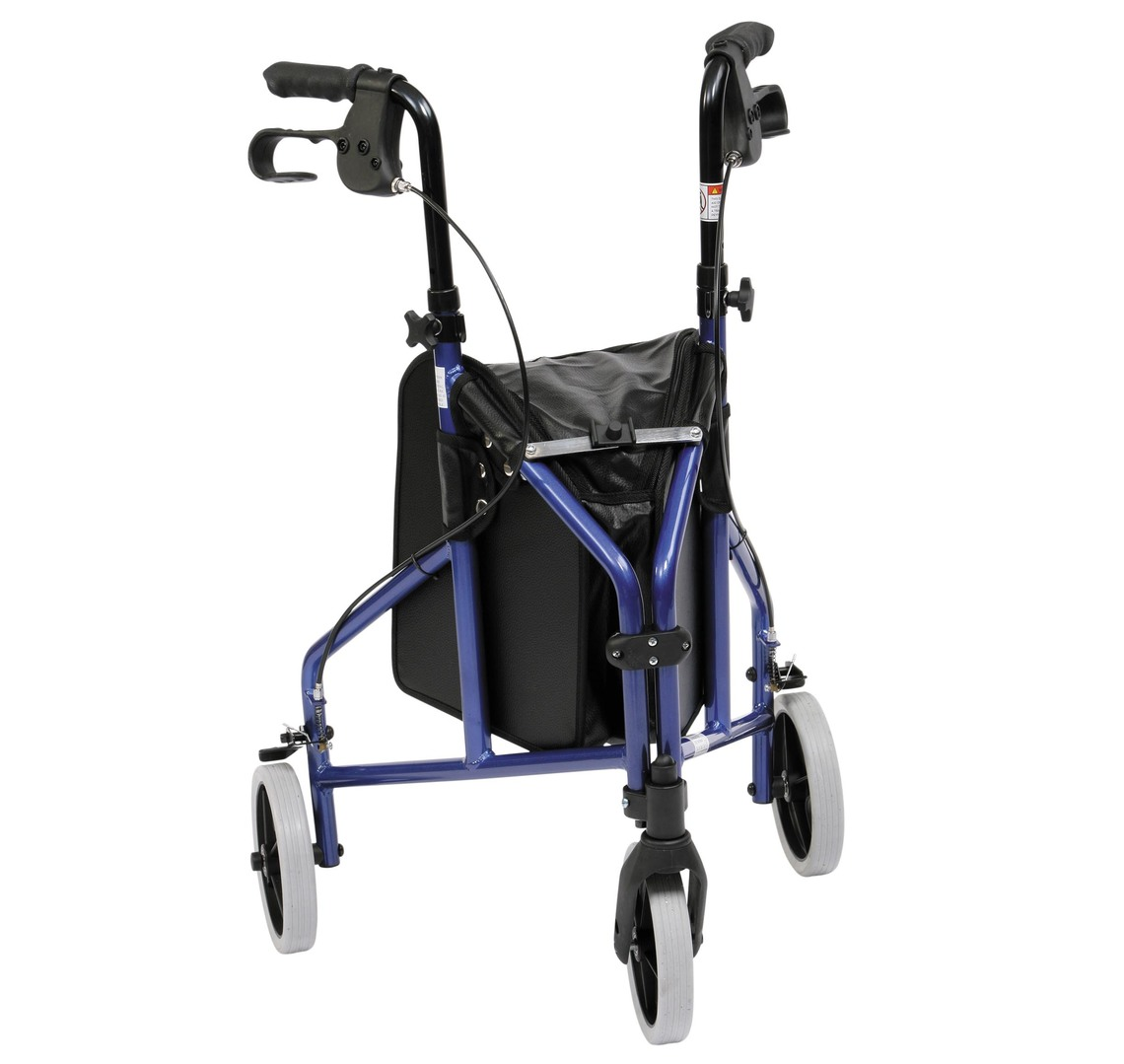 Tri-Walker Rollator, Aluminum - Blue C/W Bag, Basket & Tray   Medical Supermarket