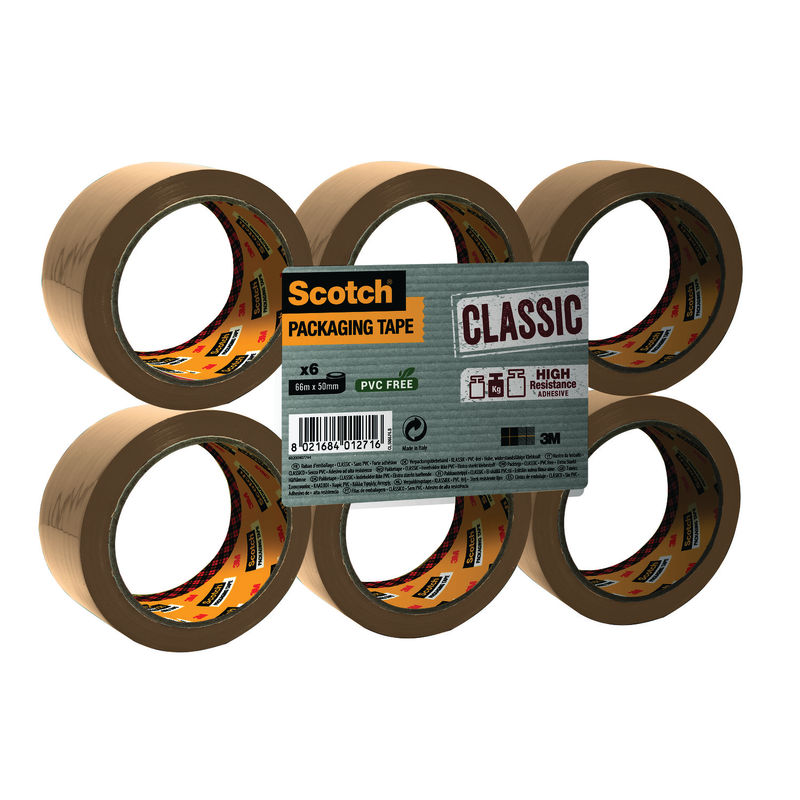 3M Scotch Brown Polypropylene Tape 50mm x 66m   Medical Supermarket