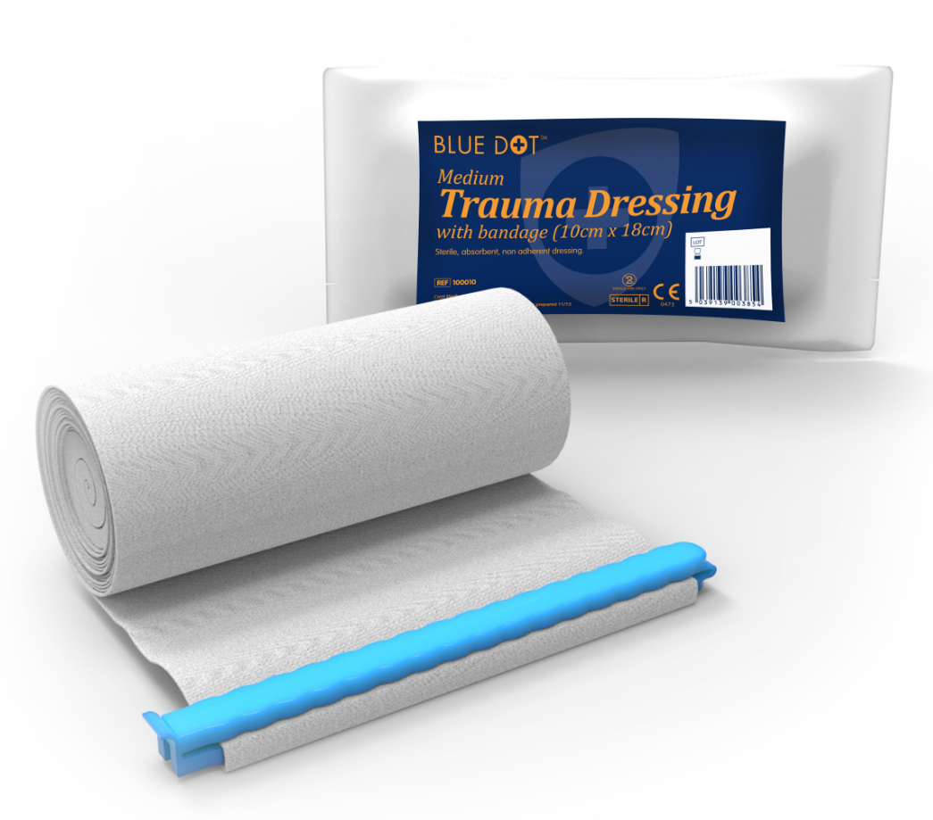 Blue Dot Medium Trauma Dressing 10cm x 18cm Flow Wrapped | Medical Supermarket