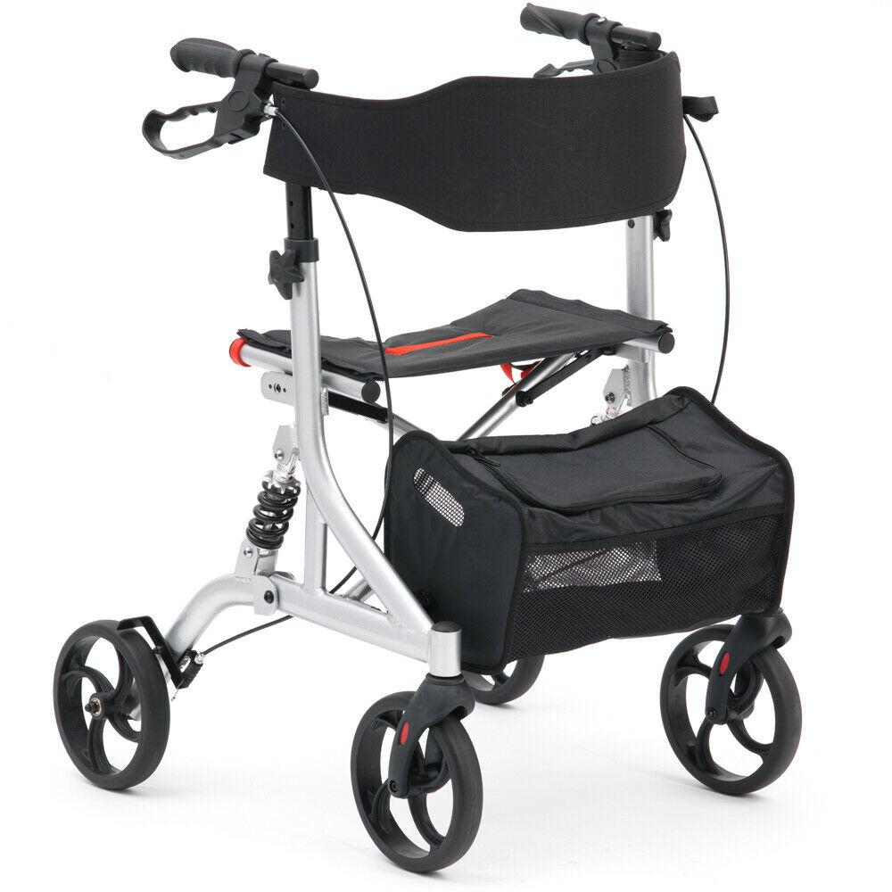 Mobility Rollator Aluminium Suspension Rollator - Silver   Medical Supermarket