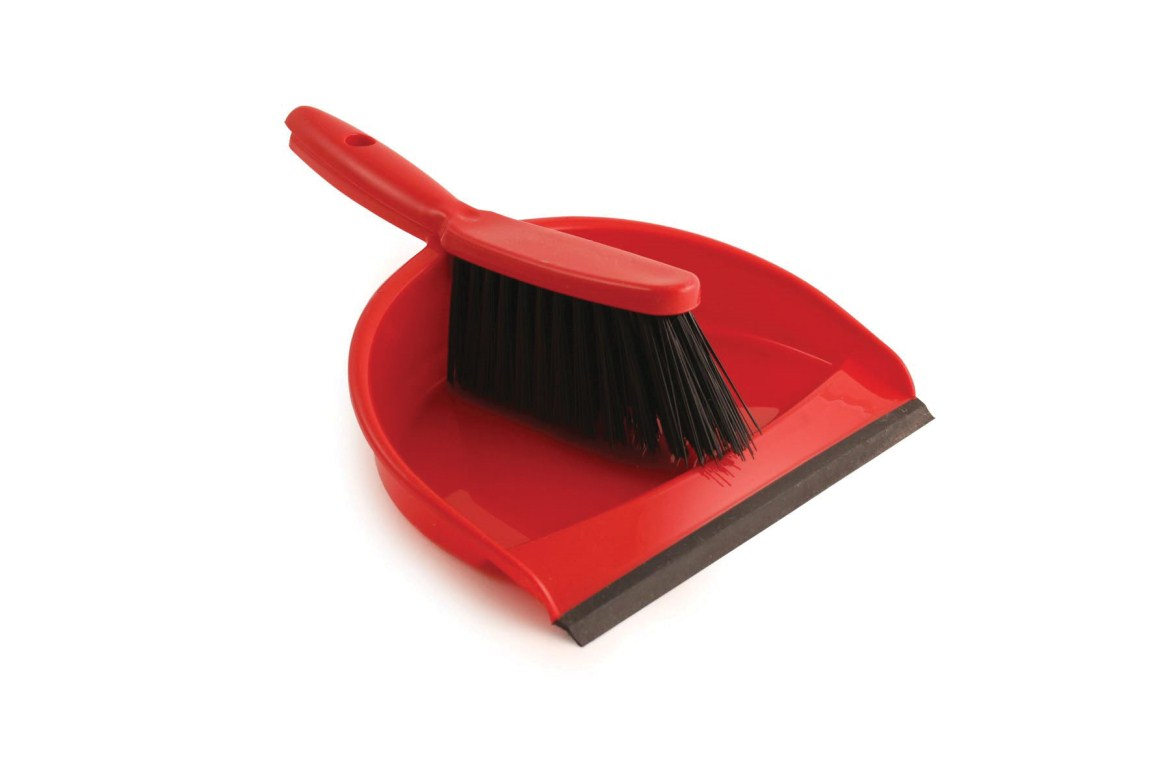 Plastic Dustpan & Brush Set Red | Medical Supermarket